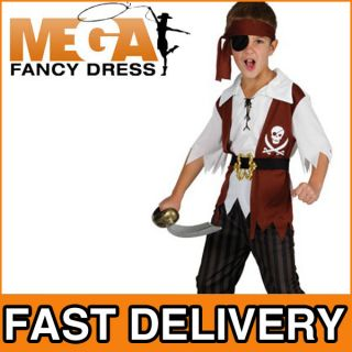 Cuthroat Pirate Boys Fancy Dress Kids Costume 5,6,7,8,9