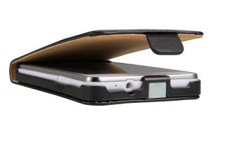 Samsung Galaxy S2 i9100 Flip Case Ledertasche Etui Leder Cover Schwarz