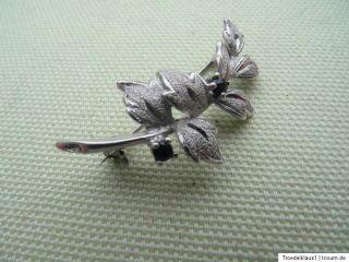 antike Saphir Blütenzweig Brosche 925 Silber +Meisterstempel