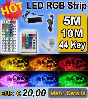 5M RGB LED Strip Leiste Streifen Band 5050 SMD + 24 Key Fernbedienung