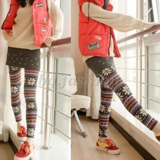 NEW Ladies Knitted Stockings Snowflakes Pattern Leggings Tights