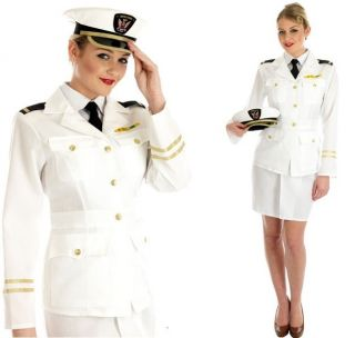 LADIES NAVAL OFFICER FANCY DRESS COSTUME 40S MILITARY
