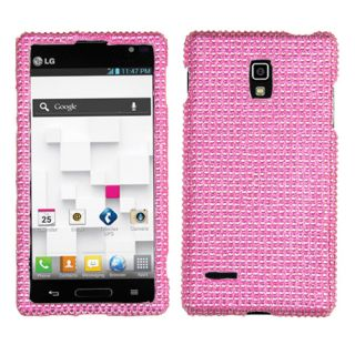 PLASTIC HARD COVER PINK BLING SNAP ON CASE ACCESSORIES FOR LG OPTIMUS