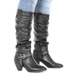 Damen Stiefel Western Cowboy Boots Kniehoch Leder Stil 36   41