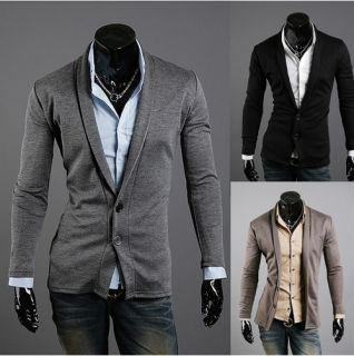 Men Premium fashion V lapel two button Cardigan Black,Dark Grey,Light