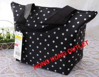 Bento Lunch Box Thermal Insulated Cooler Bag Keep Hot Cold Black Dot