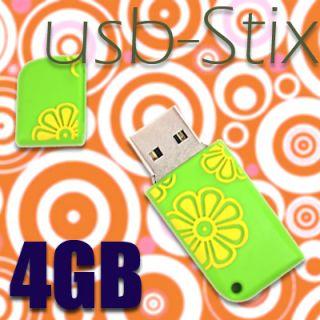 Retro USB STICK 4GB Speicher Flower Power Blumenmotiv
