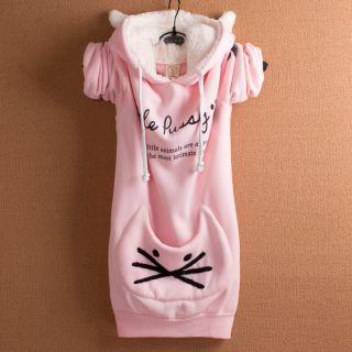 New Ladies Girl Faux Fur Kitty Cat Kitten Cute Top Shirt Jumper Hoodie