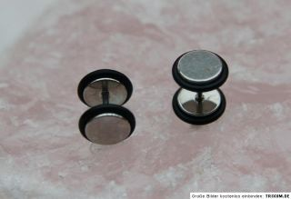 Doppel Fake Tunnel 10 mm Piercing Ohrring silber/schwarz 1x 10x 10 mm