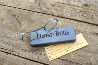 WK2 WH Dienst   Brille Dienstbrille Nickelbrille inkl. Etui WWII Army