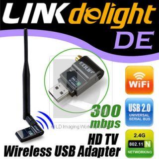 300Mbps HD TV Wireless Network IEEE 802.11n/g/b Wifi USB LAN Adapter