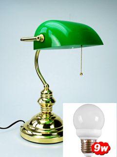Bankerlampe Schreibtischlampe Banker Lamp grün/gold NEU