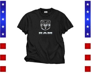 Dodge Ram T Shirt Front Print Men`s Black