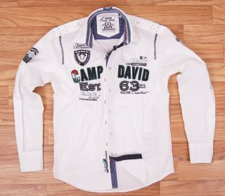 Camp David Polo Herren Hemd Herren Langarm Italian City Cruise Weiss