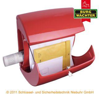 Burg Wächter Briefkasten Kiel / Piano 886 Farbe rot Klavierlack Optik