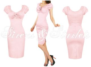Damen Rosa Enggeschnittendes 50s Bettie Page Stil Party Karriere