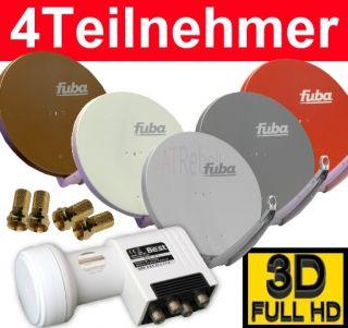 Digitale HD SAT Anlage Fuba DAA 850 + Best Quad LNB 4 Teilnehmer