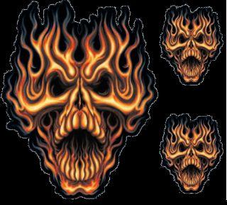 Brennender Totenkopf XL Aufkleber Set 26x20cm Flame Whip Skull Decal