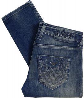 Armani Jeans Womens J40 Skinny Fit Rhinestone Jeans Blue S5J403Q