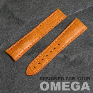 Echtes Leder Krokodil Muster Gekörnt Uhrenarmband Omega PO 22mm breit