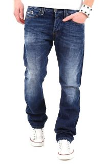 REPLAY Herren Jeans WAITOM Regular Slim Hose Blau Dunkelblau Used Wash