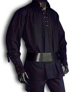 Mittelalter Piratenhemd, breiter Kragen, schwarz,Gr. XL
