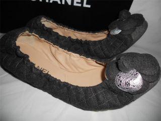 Flannel Camellia Flower Ballerina Ballet Flats Shoes $895