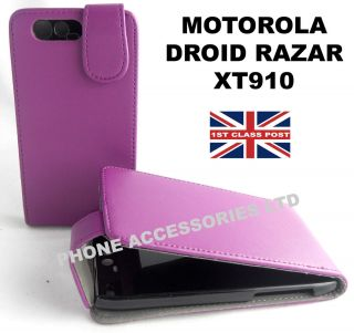 NEW STYLISH PURPLE PU LEATHER CASE COVER FOR MOTOROLA DROID RAZR XT910