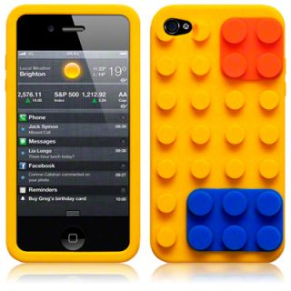 iPHONE 4S YELLOW LEGO BRICK STYLE SILICONE SKIN CASE COVER