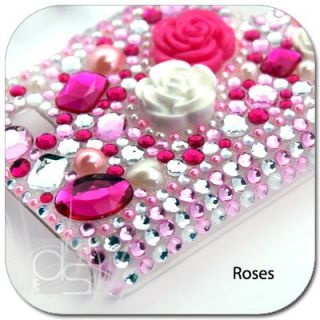 Pink Rose BLING Crystal Gem Hard Skin Case Back Cover For T mobile HTC