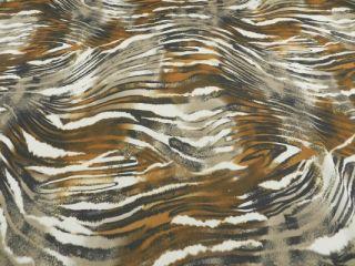 Georgette Tiger Print Animal Rost Schwarz Grau Weiss #87/909