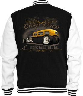 Rockabilly Sweat College Jacke Chop Drop Pin up Chevy VW Hot Rod