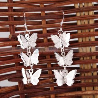 925 sterling silver ear hook butterfly dangle earrings