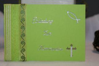 Einladungskarten Kommunion Konfirmation Fisch Kreuz Ichty   grün