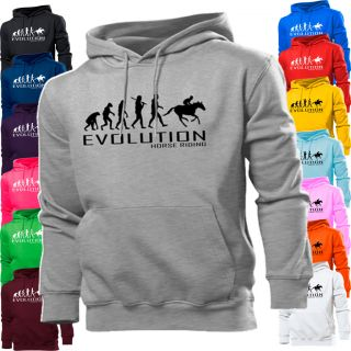 HORSE RIDING RACING EVOLUTION APE TO HOODIE HOODY WOMENS BOY GIRL KIDS