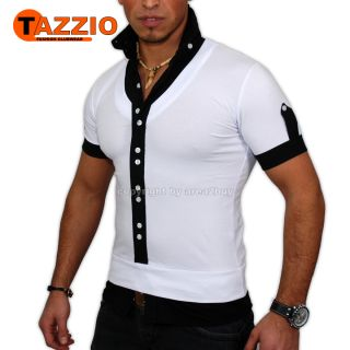 TAZZIO PARTY HEMD T SHIRT POLO SHIRT WEIß   SCHWART 942