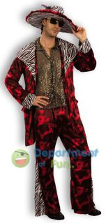 70s DADDY PIMP RED SUIT FANCY DRESS COSTUME ONE SIZE