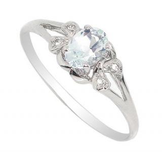 Edelsteine § Silber 925 Ring echt blau Aquamarin 0,48ct