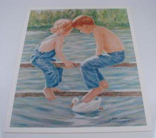 Ivan Anderson Print Duck Watcher Signed Original Art 21 1/4 x 17 1/2