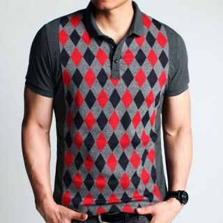 Vintage Mens Quilting Pattern Front Short Sleeve T shirt Buttons Polo