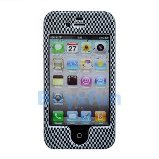 Stylish Black Checker Hard Cover Case Front and Back Skin For Apple