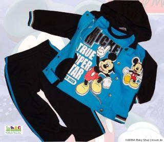 Disney MICKEY MOUSE 3 Teiler Sweatjacke Sweathose Langarmshirt 92 98