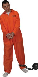 Herren Gefangener Gefängnis Orange Overall Kostüm Party Erwachsene
