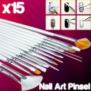15tlg Buerste Pinsel Set Nailart Pen Kuenstliche Fingernaegel Nail Art