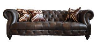Vintage Leder Design Dreisitzer Sofa Castlefield dark antik Luxus