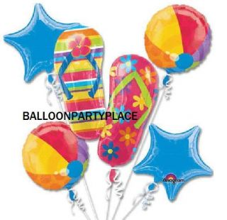 BIRTHDAY PARTY LUAU BABY SHOWER flip flop beach ball balloon BOUQUET