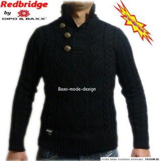 Redbridge Cipo&Baxx Herren Norweger Strick Pullover Schwarz & Weiß