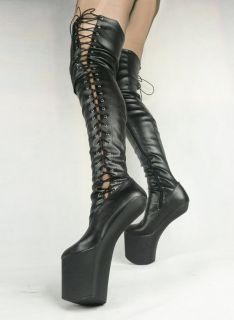 New 7.9 Showgirl Sexy Lack Heel Side Lace Up Thigh High Pony Boots