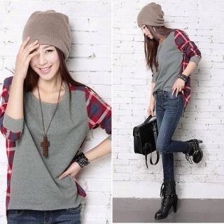 Size Splicing Round Neck Plaid Long Sleeve Bottoming T shirt Tops