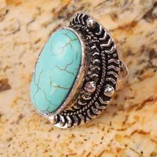 Stylish Beautiful Blue Oval Turquoise Adjustable Ring